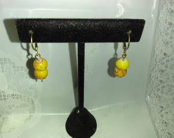 Yellow and Red Leverback Earrings