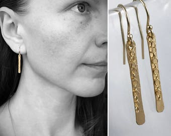 14k Yellow Gold Filled Shimmer Earrings - Simple Minimalist Bar Earrings - Hammer Formed - Subtle Hammered Texture