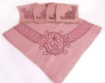 Pink tablecloth & napkins set hand embroidered card table size vintage from 1950s // table linens