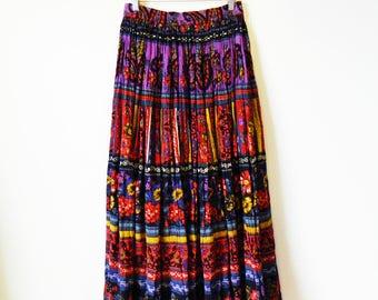 Bohemian Gypsy Vintage Crinkle Skirt / Tribal Hippie Skirt Jewel Tones / Indian Tribal Boho Maxi Skirt