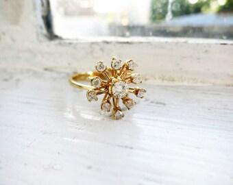 Vintage Starburst Diamond 8K Gold Ring (US Ring Size 5.5)