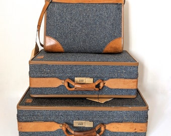 Vintage Hartmann Tweed Suitcases 3 Piece Leather Luggage Set W/ Original Tags Combination Lock Pair of Suitcases and Carry On Brass Accents