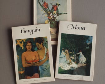 Cezanne Gauguin Monet Pocket Library Of Great Art books  set of 3 art books mid century editions Harry N Abrams / Pocket Books Inc gift set