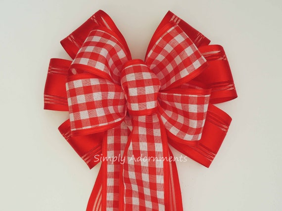 Red White Check Bow Country Red Gingham Wreath Bow Valentine Gingham Door Hanger Bow Valentine Check Bow Wedding Pew Bow Red Check Gift Bow