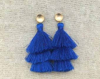 Grace Drop Earrings, SapphireTassel Earrings, Triple Tassel Statement Earrings Brushed Gold Connector,Bridal, Weddings, Holiday, Gifting