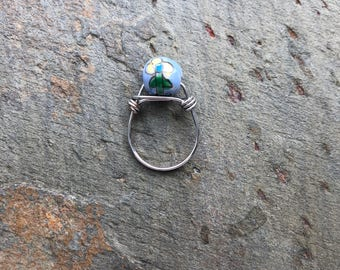 Blue Flower Ceramic Bead Wrapped Wire Ring