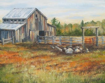 HORSE BARN PAINTING, Michigan Copper Country, Farmhouse Decor, Original Oil Painting
