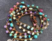 Colourful crochet bracelet necklace -  Beabed wrap bracelet, Yoga summer jewellery, Gemstone wrap, Rainbow necklace, Layering bracelet