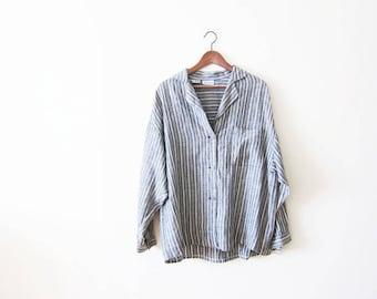 Striped Shirt / Linen Shirt / Gray Linen Button Up / Pajama Shirt / 90s Shirt / Slouchy Top / Minimalist Clothing / Linen Blouse Large