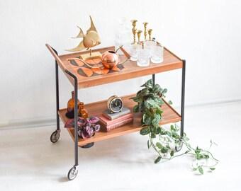 70s bar cart, wooden tea cart, serving cart, 60s bar cart, formica bar cart, rustic decor, rustic home decor, rustic bar cart