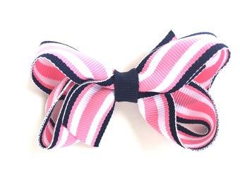 Pink & navy striped hair bow - hair bows, girls bows, girls hair bows, baby bows, toddler hair bows, pink bows, boutique hair bows, hair bow