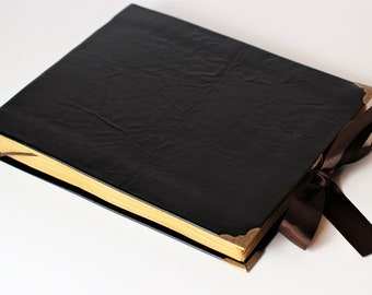 "Black Leather guest book, album, blank book, wedding guest book, old paper, 8""x10"""