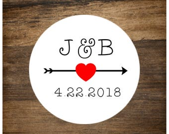 "Wedding stickers, set of 63 personalized favor labels. 1"" round stickers. Custom initials with arrow. Wedding, shower, party favor stickers."