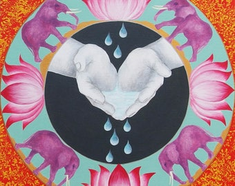 Mandala énergétique - Les Mains Guérisseuses - Création sur Commande - Acrylique sur toile - 40 cm x 40 cm  - Création d'artiste