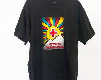 Vintage 90s Cowlitz Wahkiakum Washington Shirt Red Cross Native American Aid American Indian Washington State Reservation