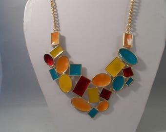 SALE Multi Color Pendant Necklace on a Gold Tone Chain