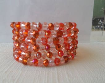 5 Row Memory Wire Cuff Bracelet with Red, Clear and Red Matalic Crystal Beads
