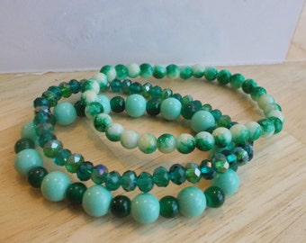 3 Stretch Bangle Bracelets with Light and Dark Green Glass Beads and Green Crystal Beads