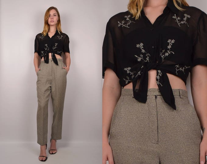 Vintage High Waist Tweed Trousers
