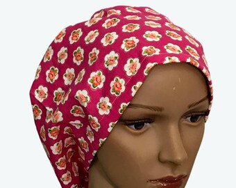 Euro Scrub Hat - Beautiful White Flowers Magenta Pink Scrub Hat for women - Slouchy hat with Roses on Fuchsia
