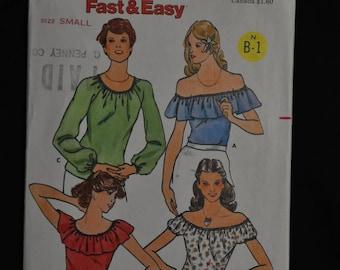 Misses's Peasant Top - Size 8/10 - 3 Styles - UNCUT - Butterick 5975
