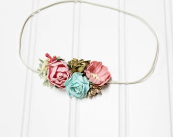 Gold Pixie Dreams - beautiful dainty and simple flower headband in pink, blush, mint aqua, gold and cream (RTS)