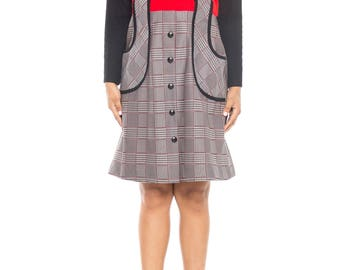 Mod Black, White, And Red Midi Dress With Turtleneck And Plaid Skirt Size: 6