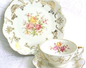 vintage tea cup trio floral teacup multicolor flowers floral tea cup Winterling german tea cup shabby chic 36