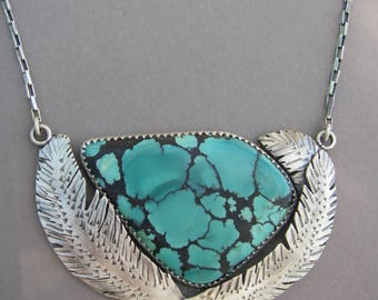 Turquoise feather Necklace 17 3/4''
