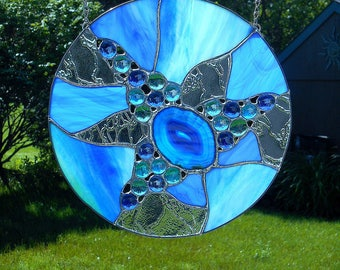 Round Abstract Stained Glass  Blue and Aqua Sun Catcher with Agate