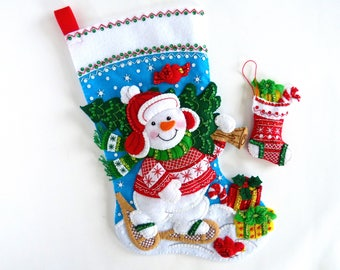 Bucilla Christmas Stockings Finished Bucilla Personalized Felt Stocking Completed For Children Kids Boys Girls Stocking Gift Nordic Snowman