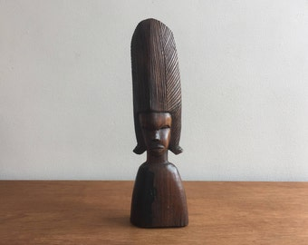 Vintage African Carving, Tribal, Ethnic Decor, carved wood statue