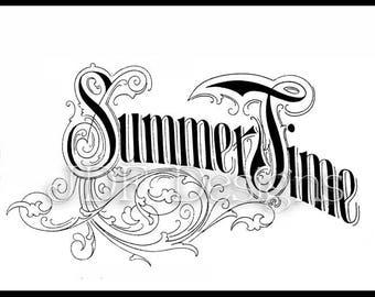 Instant Digital Download, Antique Victorian Graphic, Summer Time Text, Vintage Lettering, Printable Image, Typography Sign Banner, Scrapbook