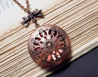 Copper Filigree Locket Necklace