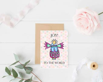 "Greeting Card ""Joy to the World"" / Christmas Holiday / Wedding Bridal Engagement / Baby Shower Girl Angel Wings  / Print at Home Artwork"