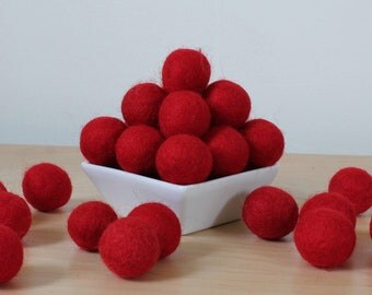Felt Balls: RED, Felted Balls, DIY Garland Kit, Wool Felt Balls, Felt Pom Pom, Handmade Felt Balls, Red Felt Balls, Red Pom Poms