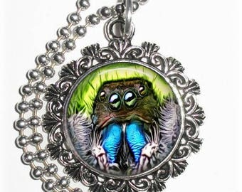 Black & Blue Spider Close-up Art Pendant, Photo Painting Filigree Charm, Silver and Resin Necklace, YessiJewels Jewelry