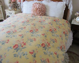 ralph lauren parsonage lane fullqueen duvet cover yellow floral rare