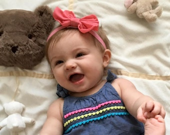 Dark Pink Coral Bow Headband, Baby Headbands, Baby Girl Headbands, Infant Headbands, Baby Bow, Infant Bow, Girl Headband