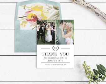 Modern Wedding Thank You Card Wedding Thank You Card Printable - Printed Thank You Card - Photo Thank You Wedding
