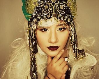 Green tall ornate GOLD Metallic Sequin Crown tiara Headdress,headpiece,hat wings