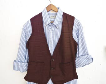 Vintage Glen Plaid Wool Waistcoat / burgundy red & black Prince of Wales pattern vest, waist coat / men's extra small