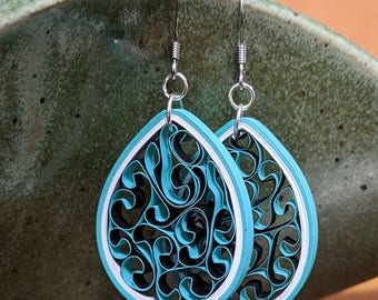Teal Paper Quilling Honeycomb Earrings | 1st Paper Anniversary Gift for Her | Stainless Steel Hypoallergenic for Sensitive Ears