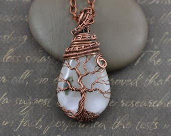 Ice Tree-Of-Life Necklace Wired Copper Jewelry Family Tree White Xonotlite Stone Rustic Wedding Necklace Jewelry Christmas gift mom from son