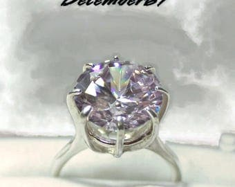 Lavender Diamond Ring, Sterling Silver Ring With Big Stone, Lavender Cubic Zirconia Ring