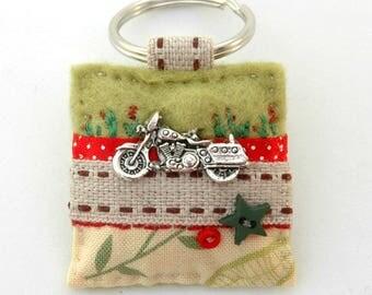 motorbike keyring, unique biker gifts, motorcycle keychain, gifts for bikers, motor bike, biker chick, lady mechanic gift, British made