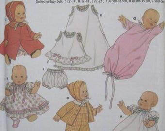 "Simplicity 5215 Wardrobe Pattern for  Baby Dolls 12-22"" S M L Uncut, OOP"