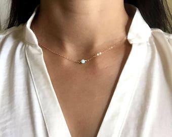 Opal necklace, 14K Gold Fill, Sterling Silver, Dainty Opal Necklace, white opal, elegance, everyday necklace, custom necklace, ship from USA