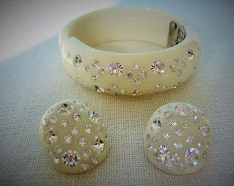 WEISS BRACELET w Earrings Set Demi Parure RHINESTONE Clamper Bangle Bracelet Clear Swarovski Crystals Vintage Costume Jewelry Designer
