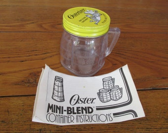 Vintage Osterizer Mini Container and Directions